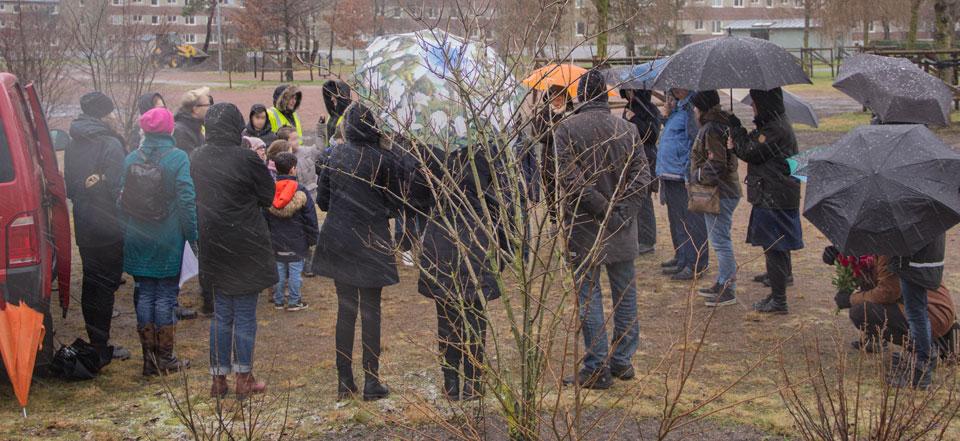 Bild från invigningen av konstverk, Bergkristallparken, Tynnered, Göteborg den 31 januari, 2018.