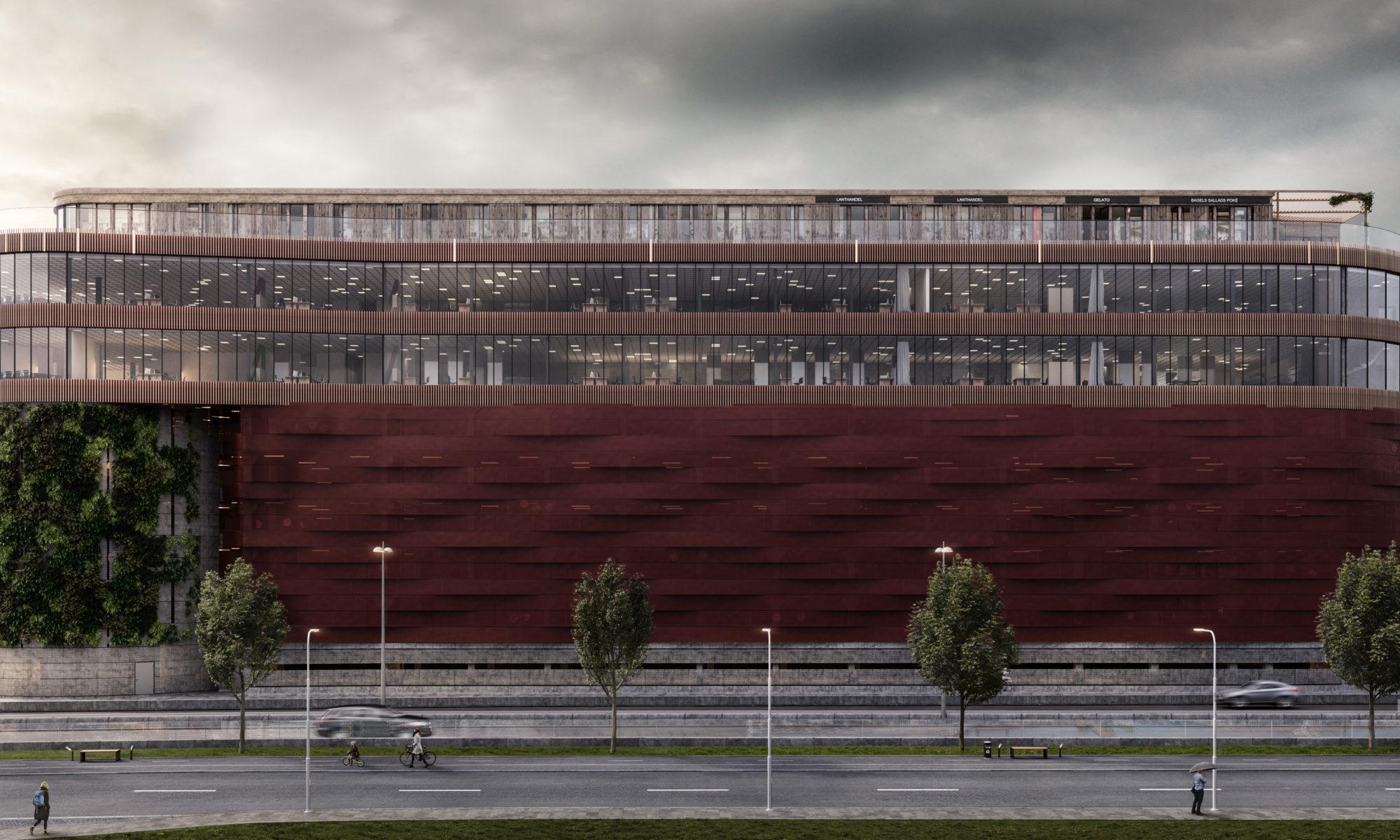 Bilden visar en visualiseringsbild av Parkeringshuset Masthugget Väst.