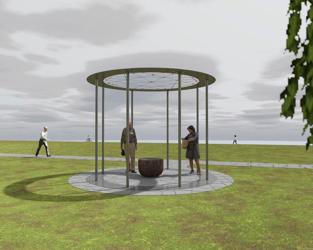 Visualiseringsbild av konstverket för veteraner. Verket är placerat på en stor grönyta nära älven i Färjenäsparken.