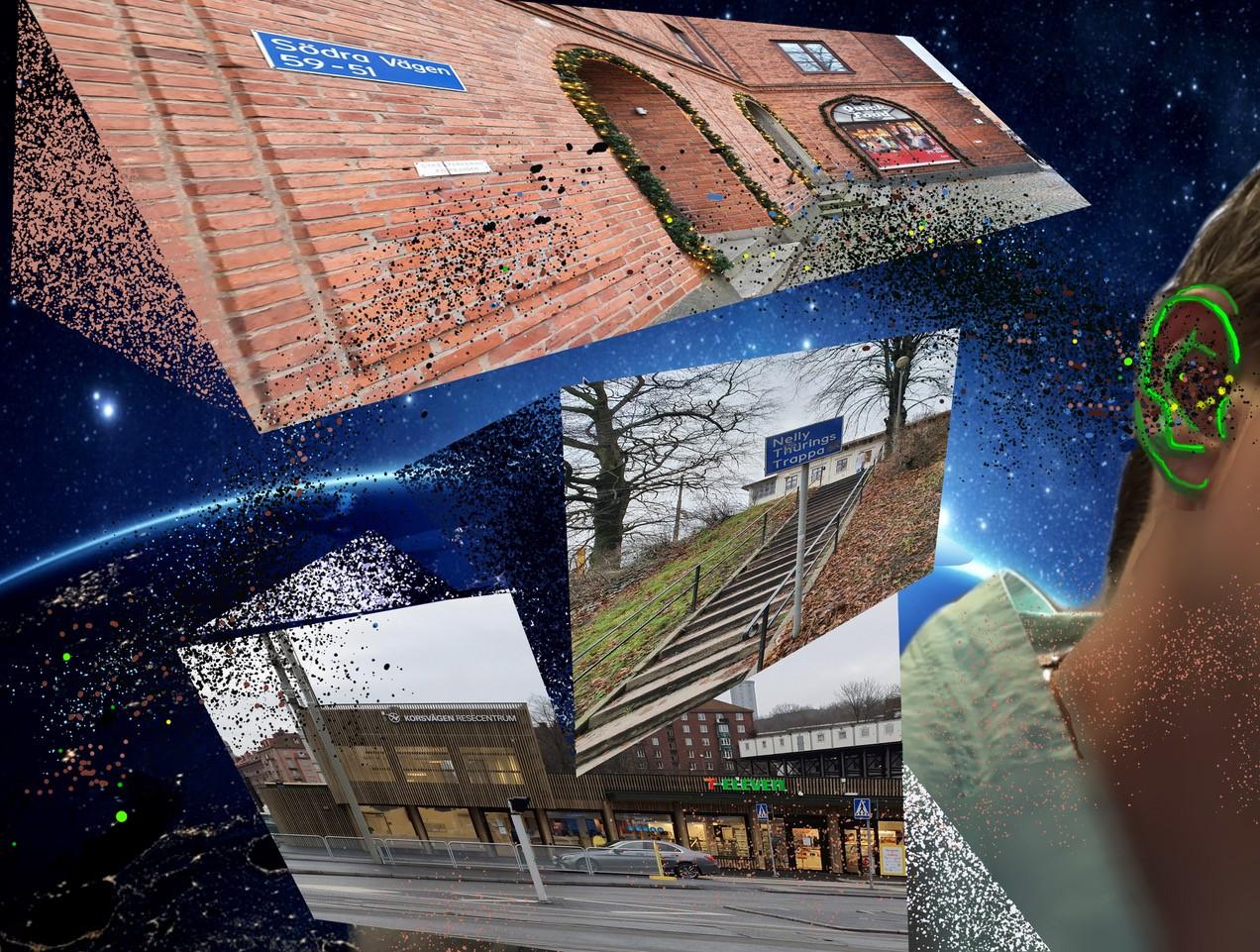 Ett kollage där vi ser Korsvägens stationsbyggnad och en park flimra förbi med rymden som bakgrund